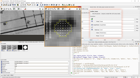 screenshot of HDevelop with filters in MVTec HALCON